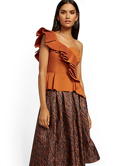 Orange Ruffled Corset Top - New York & Company