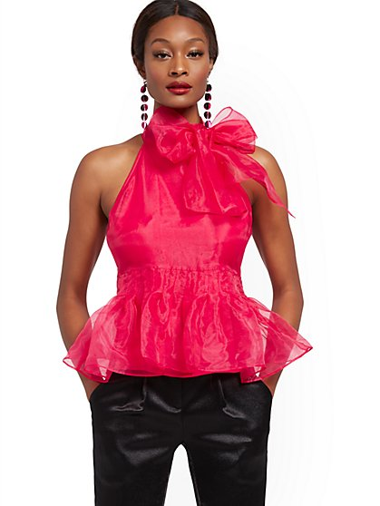 Organza Bow Halter Top - New York & Company