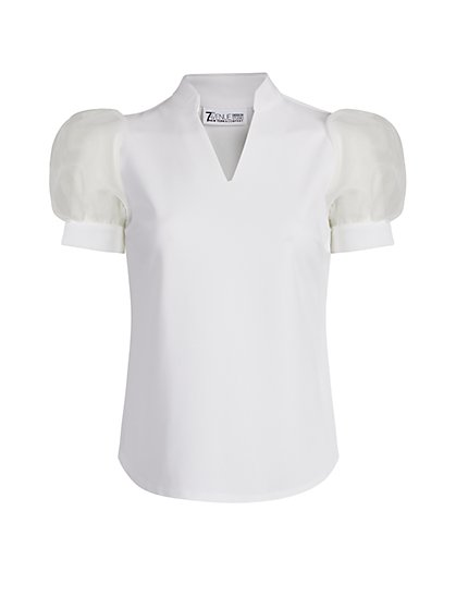 Organza Puff-Sleeve Top - 7th Avenue - New York & Company