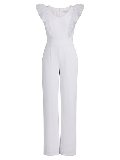 Organza Ruffle-Sleeve Jumpsuit - New York & Company