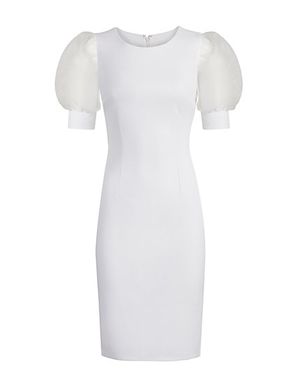 Organza-Sleeve Sheath Dress - Magic Crepe® - New York & Company