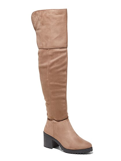 Over-the-Knee Faux-Suede Boot - New York & Company
