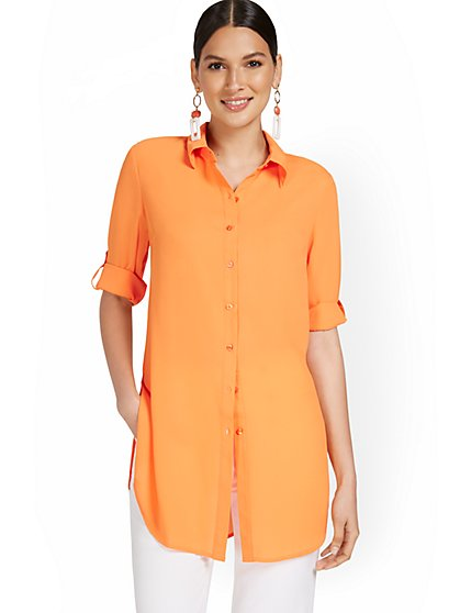 Oversized Button-Down Top - New York & Company