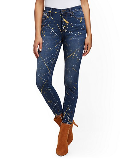 Paint-Splatter High-Waisted Super-Skinny Ankle Jeans - Blue Honey - New York & Company