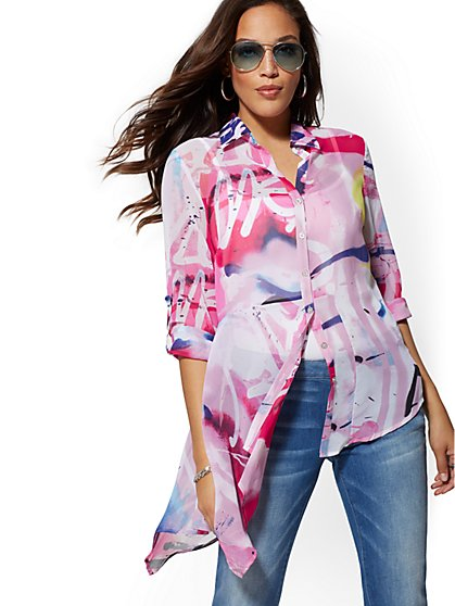 Paint-Splatter Print Asymmetric-Hem Blouse - New York & Company