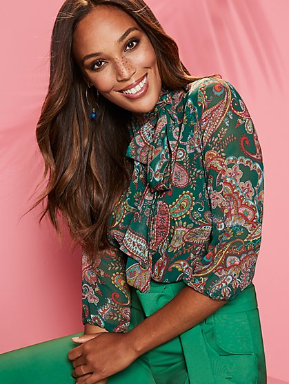 Paisley Bow Blouse - Sweet Pea - New York & Company