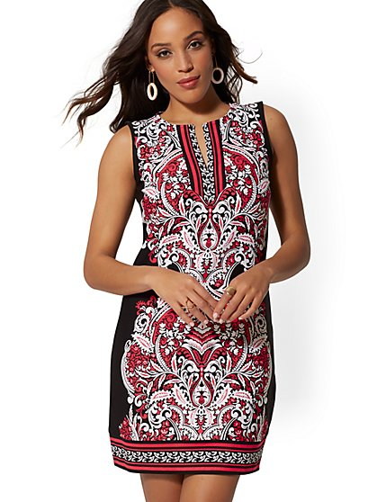 Paisley Cotton Shift Dress - New York & Company