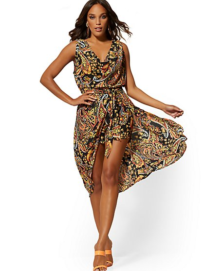 67af4ca108923 Paisley Cowl-Neck Overlay Romper - New York & Company ...