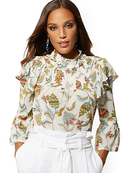Paisley Floral Smocked Blouse - 7th Avenue - New York & Company