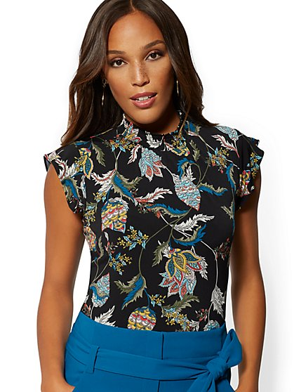 Paisley Floral Smocked Ruffled Short-Sleeve Top - 7th Avenue - New York & Company