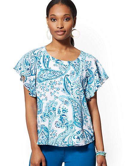 Paisley Flutter-Sleeve Blouse - 7th Avenue - New York & Company
