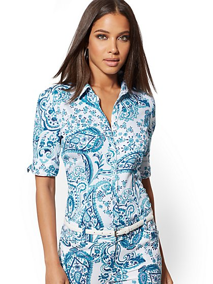 Paisley Madison Stretch Shirt - 7th Avenue - New York & Company