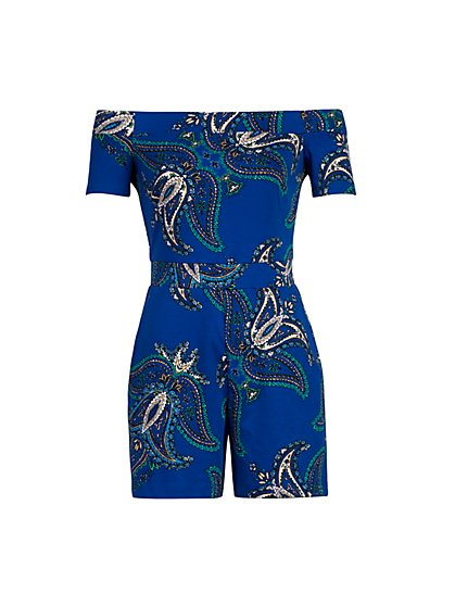 Paisley Print Off-Shoulder Romper - New York & Company
