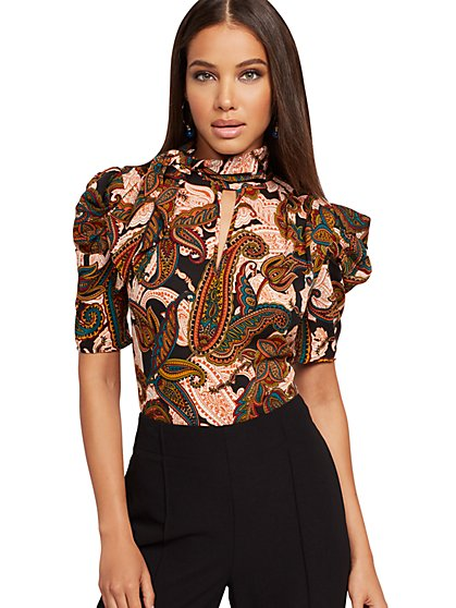 Paisley Puff-Sleeve Bow Blouse - New York & Company
