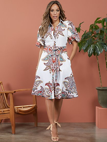 Paisley Puff-Sleeve Shirtdress - New York & Company