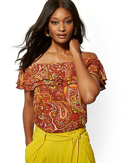 Paisley Ruffled Off-The-Shoulder Blouse - New York & Company
