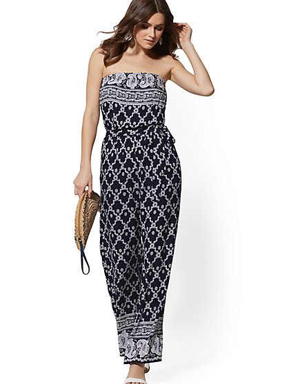 Paisley Strapless Jumpsuit - New York & Company