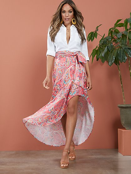 Paisley Tie-Front High-Low Skirt - New York & Company