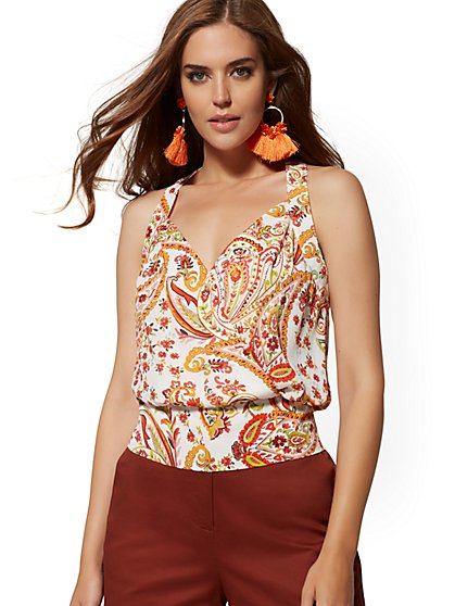 Paisley V-Neck Wrap Blouse - New York & Company