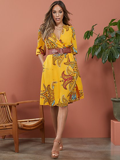 Paisley Wrap Dress - New York & Company