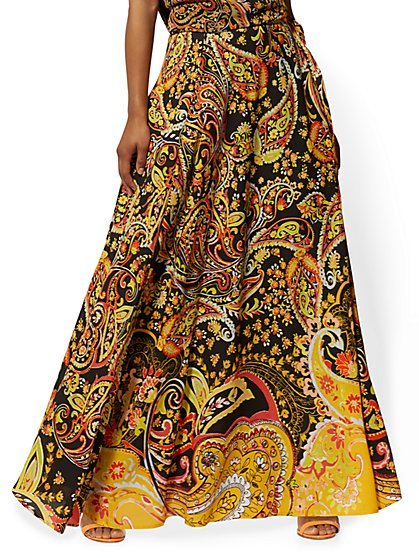 019356619 Paisley Wrap Maxi Skirt - New York & Company ...