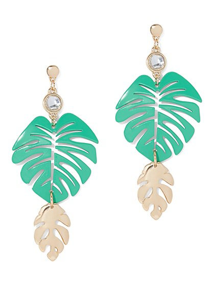 Palm Leaf Statement Drop Earring - New York & Company