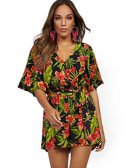 Palm Print Belted Romper - New York & Company
