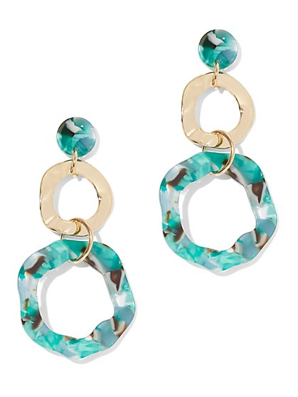Palm-Print Double Hoop Drop Earring - New York & Company