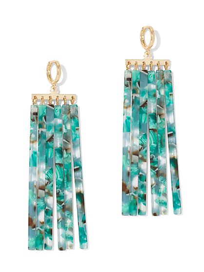 Palm-Print Linear Drop Earring - New York & Company