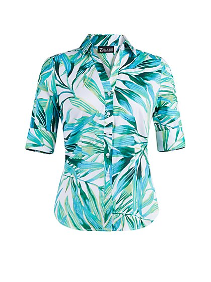 Palm-Print Madison Stretch Shirt - Secret Snap - 7th Avenue - New York & Company