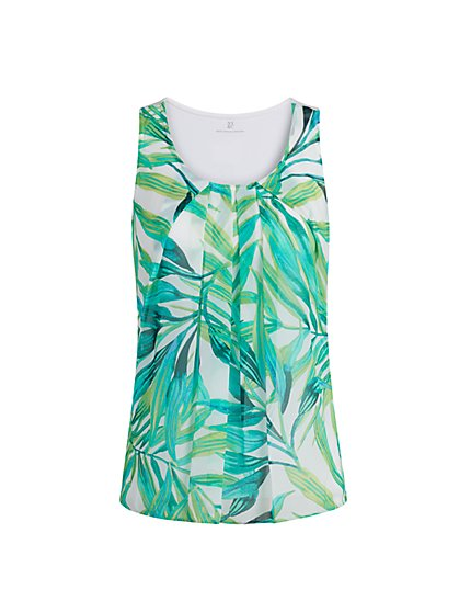 Palm-Print Sleeveless Top - New York & Company