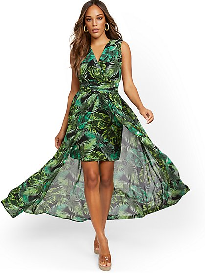 Palm-Print V-Neck Overlay Dress - New York & Company