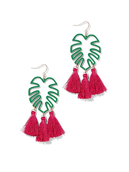 Palm Tree & Tassel Drop Earring - New York & Company
