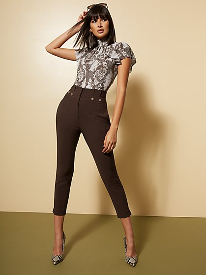 Paperbag-High-Waisted Ankle Pant - All-Season Stretch - 7th Avenue - New York & Company