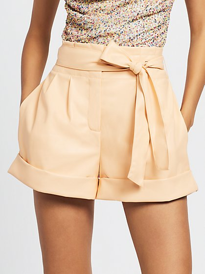 Paperbag Waist Faux Leather Shorts - Gabrielle Union Limited Edition Red Carpet Collection - New York & Company