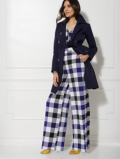 Paperbag-Waist Palazzo Pant - Plaid - 7th Avenue - New York & Company