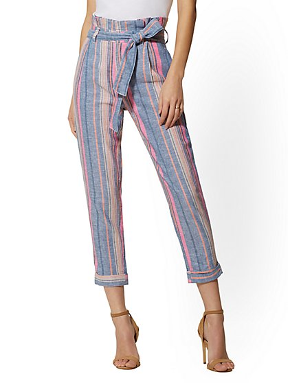 Paperbag-Waist Pant - Stripe Linen - New York & Company