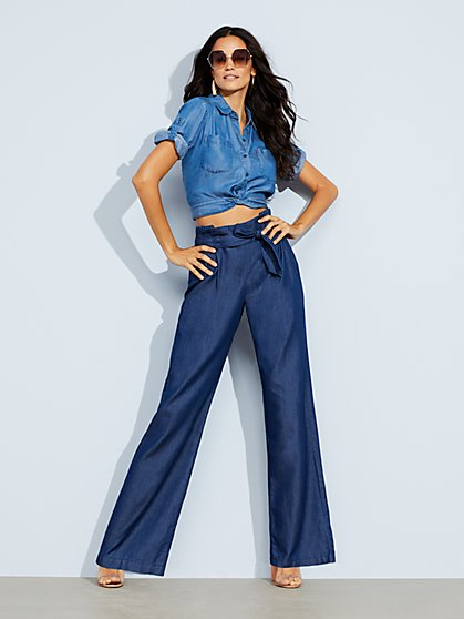 Paperbag Waist Wide Leg Jeans - Rinse - Soho Jeans - New York & Company