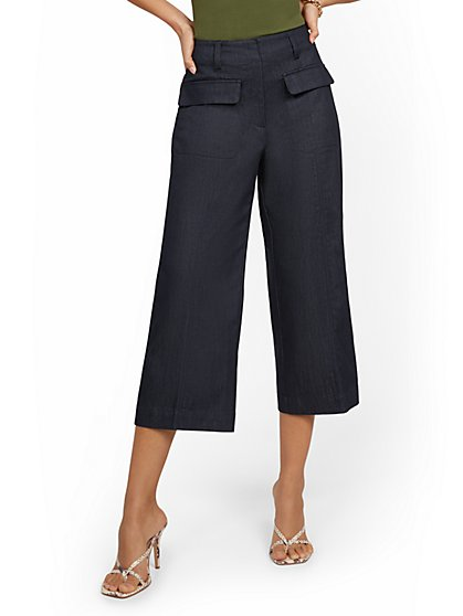 Patch Pocket Wide-Leg Capri Pant - New York & Company