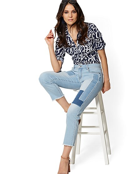 Patched Straight Leg Jeans - Vista Blue - Soho Jeans - New York & Company
