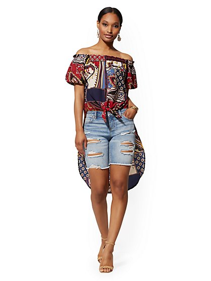 Patchwork-Print Off-The-Shoulder Hi-Lo Blouse - New York & Company