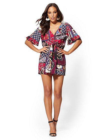 Patchwork-Print Tie-Front Romper - New York & Company