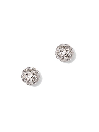 Pave-Accent Cubic Zirconia Sterling Silver Post Earring - New York & Company