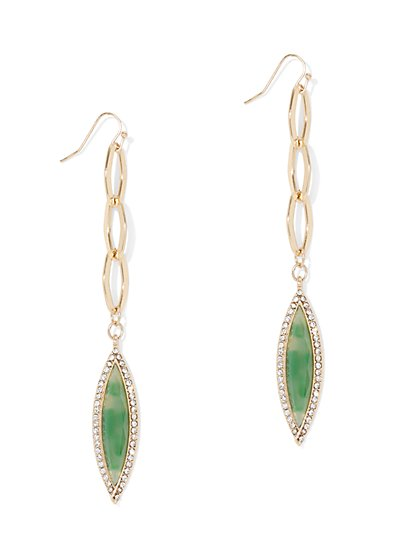 Pave Faux-Stone Link Drop Earring - New York & Company
