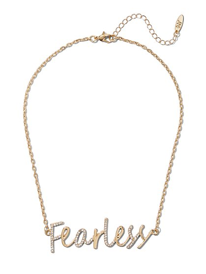 "Pave ""Fearless"" Nameplate Necklace - New York & Company"