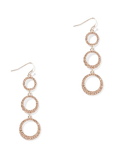 Pave Goldtone Linear Drop Earring - New York & Company