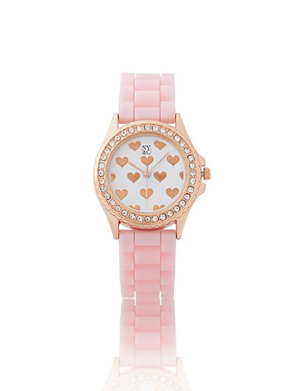 Pave Heart Link Watch - New York & Company