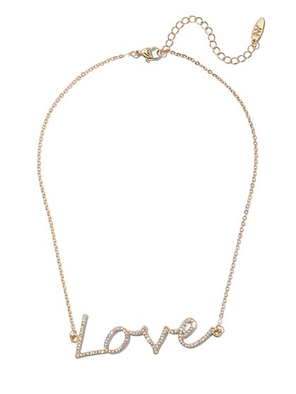 "Pave ""Love"" Nameplate Necklace - New York & Company"