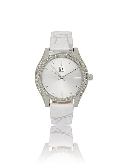 Pave Marbleized-Band Watch - New York & Company