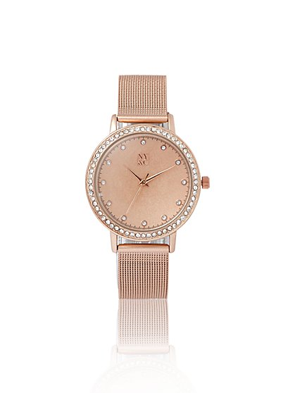 Pave Mesh-Band Watch - New York & Company